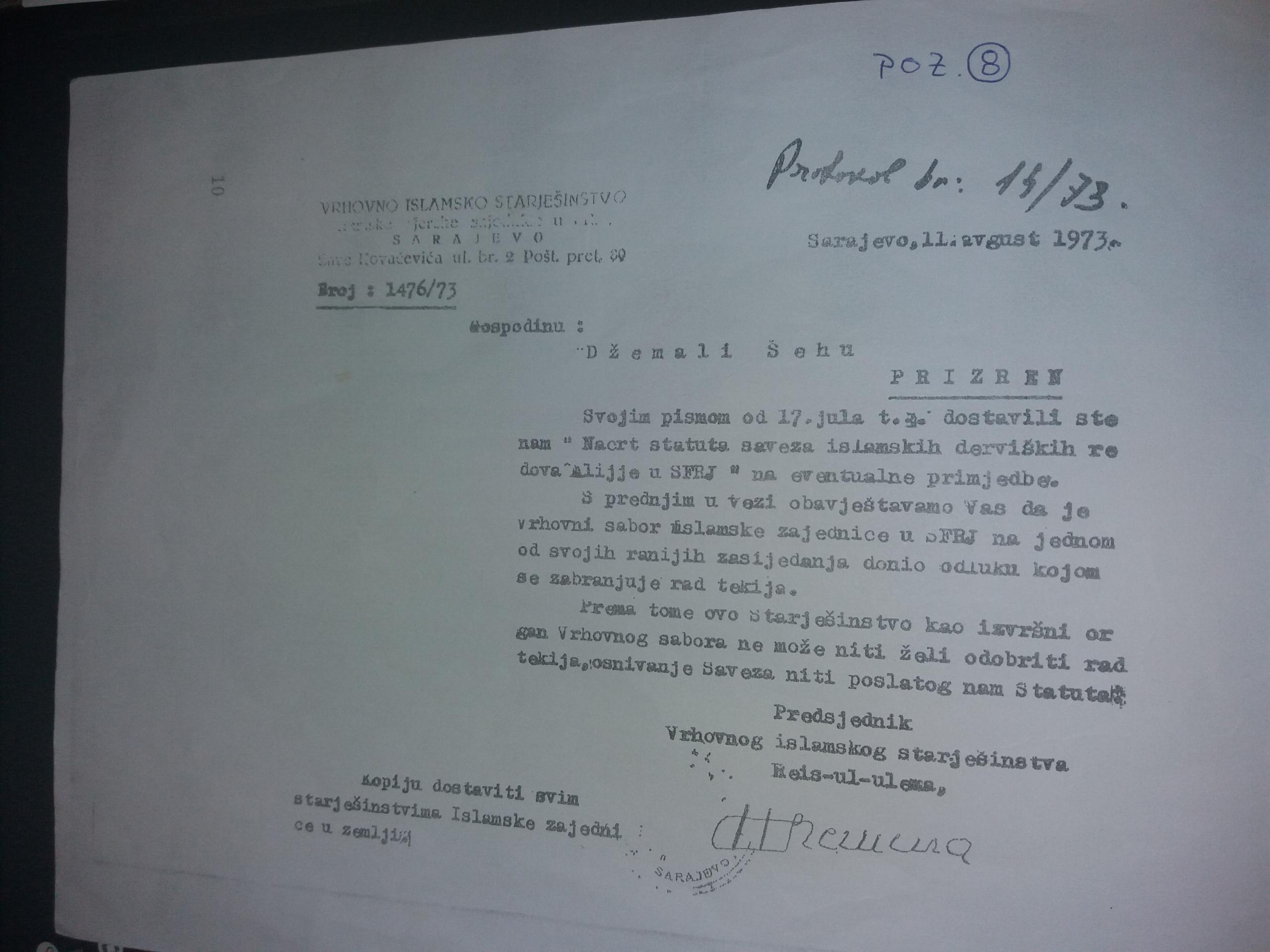 Ndalesa e Veprimit të Teqeve, nga Kryesia e Bashkësisë Islame në Sarajevë, 11 gusht 1973